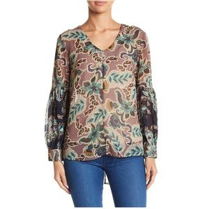 Democracy Print Lantern Sleeve Blouse XS